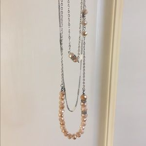 Jewelry - Triple Layer Peach Bead and Chain Necklace